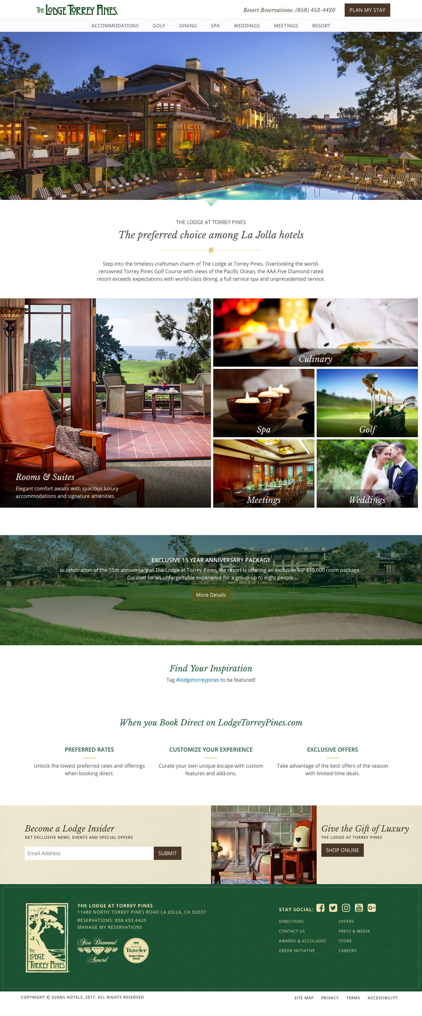 Screen shot of the Lodge at Torrey Pines homepage